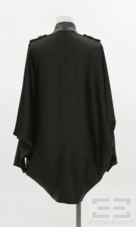 Alexander Wang Black Satin Leather Epaulette Draped Jacket Size S