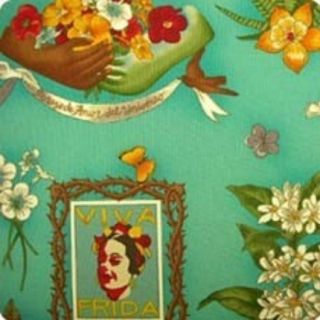 Viva Frida Kahlo Mexican Alexander Henry Blue Green Fabric