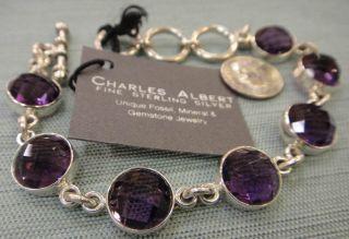 Charles Albert Purple Amethyst Handmade Silver Bracelet