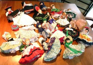 Lot of 20 Madame Alexander Miniature Showcase Dolls needing TLC