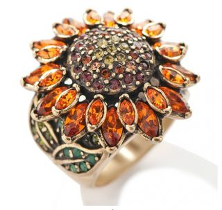 Heidi Daus A Fabulous Sunflower Crystal Accented Ring Size 6