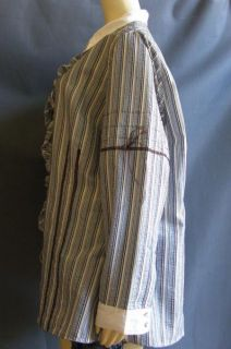 Alain Weiz Blue Brown Striped Ruffled Pintucked Plus Shirt 22 64 in