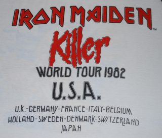 Vintage Iron Maiden Killers World Tour T Shirt 1982 L