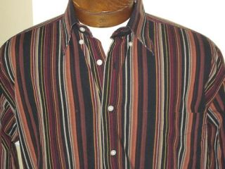 MENS ALAN FLUSSER BROWN STRIPED CASUAL DRESS SHIRT M long sleeve