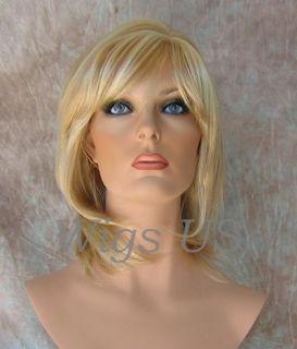 Wigs Golden Blonde Mix Medium Layered Skin Part Bangs Wig