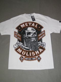 Land Metal Mulisha White Black Shirt Tee Tshirt SS Short Sleeve New