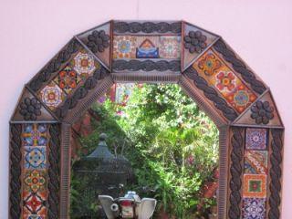 Punched Tin Talavera Mirror Mexican Folk Art Mirrors