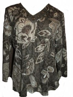 NEW ALFRED DUNNER Womens Beaded Floral Burnout V Neck Top Shirt size S