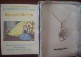 Rumpelstiltskin Sterling Silver Spinning Wheel Charm Necklace Fairy
