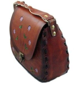 Border Leather Hand Painted Tooled Leather Handbag
