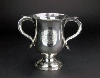 GEORGIAN SOLID SILVER ENGRAVED ROPHY CUP, ROBER ALBIN COX c.1756