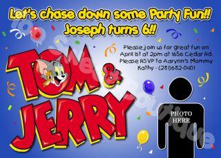 Tom and Jerry Custom Photo Birthday Invitations