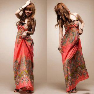 New Fashion Lady Womens Boho Exotic Summer Cotton Long Dress Blue