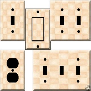 Almond Peach Tiles Light Switch Plate Cover Switchplate