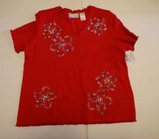 Alfred Dunner short sleeve shirt Plus size 1X Red w Blue White flowers