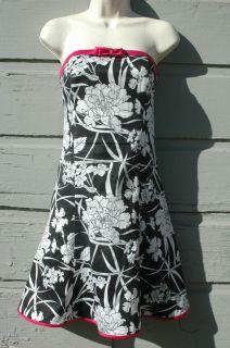 Gunne Sax Jessica McClintock Black White Floral Sundress dress 7 8