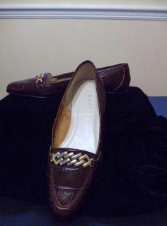 Brown Croc Loafers by Designer Amalfi Rangoni Size 7N