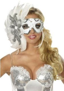White Feather Mask Mardi Gras Masquerade Winters Eve Costume Show Girl