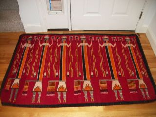 Vintage Yei Navajo Rug Native American Indian Blanket Awesome