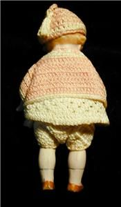 Bisque Doll Made by Amberg Germany Mibs Vintage Crocheted Clothes