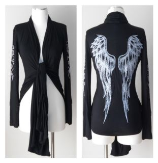 Crystal Angel Wings Tribal Tattoo Black Jersey Wrap Cardigan Ed Hardy
