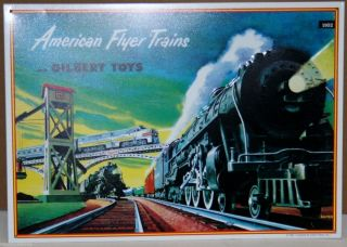 AMERICAN FLYER TRAINS& GILBERT REPRO OF A 1950 SIGN MFG IN THE 90,S