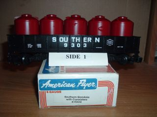 American Flyer s Gauge Made by Lionel 4 9303 Gondola Car w Canisters