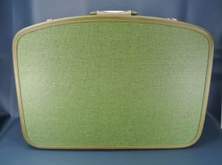 Vtg Mid Century Modern Travel Smart Suitcase with Bakelite Handle