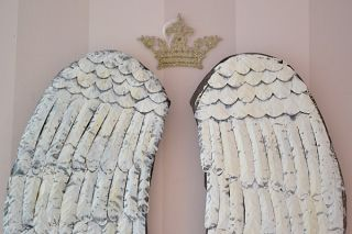Shabby Cottage Chic Angel Wings Long White Rustic French Style Holiday