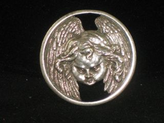 Lovely Sterling Silver Vintage Angel Cherub Button London
