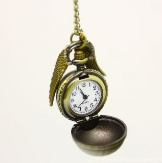Hot Harry Potter Bronze Snitch Angel Wings Watch Necklace Free