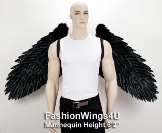 XXXL Wingspan Black Costume Feather Angel Wings Pointing Up or Down