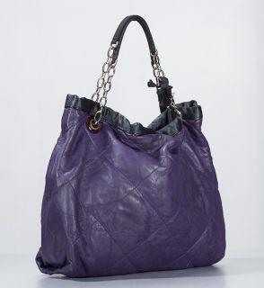 Lanvin Purple Leather Amalia Cabas Large Shopping Tote Bag