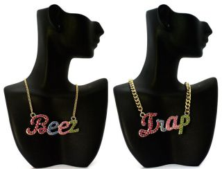 ICED OUT NICKI MINAJ STYLE BEEZ IN THE TRAP MULTI COLOR NECKLACE MP812