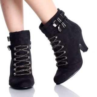 Black Ankle Boots Booties Goth Punk Chain Faux Suede Womens High Heels