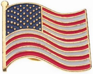 American USA Patiotic Stripe Flag Lapel Pin Gold Filled