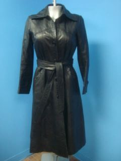 Maytex FITTED Vintage Black Leather Women Coat Jacket L O O K