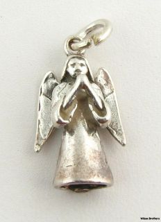Guardian Angel Charm   Sterling Silver 3D Religious Fashion Pendant