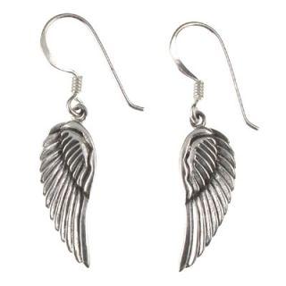 925 Sterling Silver Angel Fairy Wings Drop Earrings New