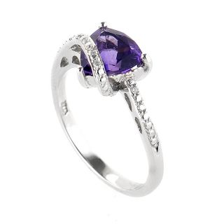 10K White Gold Diamonds Amethyst Ring