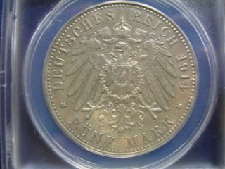 Anhalt Dessau 1914A 5 Mark Silver Wedding ANACS AU 55 Details Polished