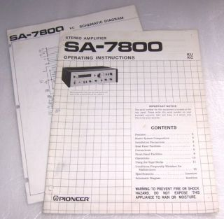 Pioneer SA 7800 Amplifier Operating Manual Schematic