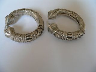 Antique Ethnic Tribal Silver Bracelet Anklets Pair x 2