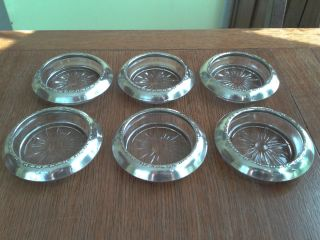 VINTAGE AMSTON STERLING SILVER AND CRYSTAL GLASS COASTERS MATCHING SET