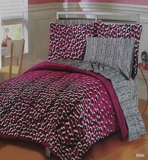 Kitten Animal Print Plum Black Queen Comforter Sheets 7pc Bedding Set