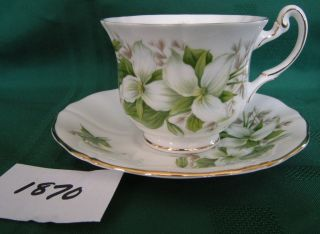 English Bone China ROYAL ADDERLEY TRILLIUM Cup and Saucer GOLD RIMS