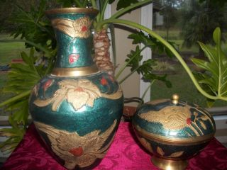 VINTAGE SOLID BRASS TALL TURQUOISE VASE MATCHING CANDY DISH MADE IN