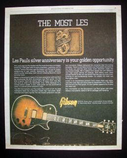 Gibson Les Paul Silver Anniversary Guitar 1978 Poster Type Advert