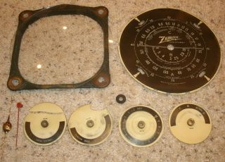 Vintage Zenith Radio Parts Black Dial Small Dials Pointers Bezel Glass