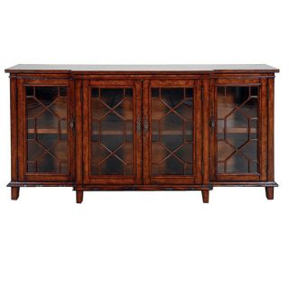 Antique Like Solid Sideboard Buffet China Cabinet New Glass Doors hand